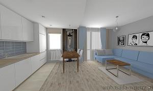 Wizualizacja wnętrza Kuchnia Salon width=