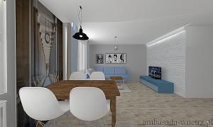 Wizualizacja wnętrza Jadalnia Salon width=