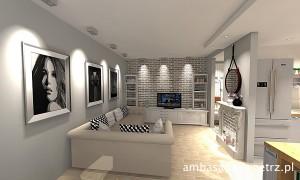 Mieszkanie w stylu vintage Kuchnia Salon